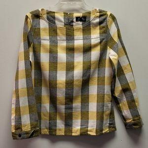 A.P.C. Yellow Buffalo Check Long Sleeve Cotton Top